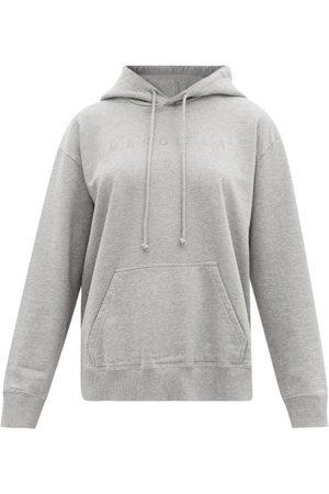 MM6 MAISON MARGIELA Women Sweats - Logo-embroidered Cotton-jersey Hooded Sweatshirt - Womens - Grey