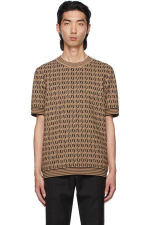 Fendi Brown & Black Knit Logo T-Shirt