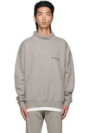 Essentials Men Sweatshirts - Grey Mock Neck Pullover Sweatshirt