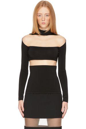 MUGLER Black Illusion Segmented Long Sleeve T-Shirt