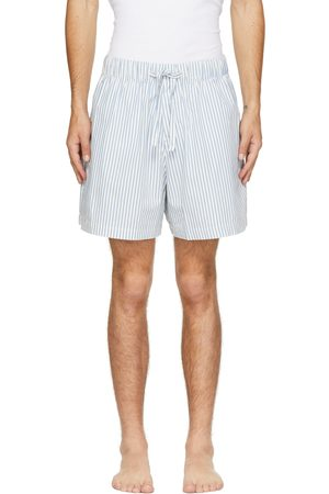 Tekla White & Blue Poplin Striped Pyjama Shorts