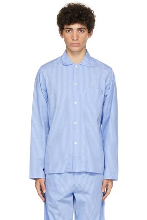 Tekla Blue & White Poplin Striped Pyjama Shirt