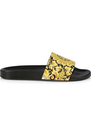 VERSACE Men's Medusa Leather Pool Slides - - Size 8 Sandals