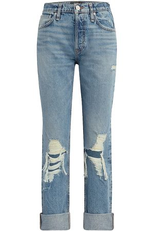 Hudson Women's Thalia Distressed Boyfriend Jeans - Feel Alive - Size 32