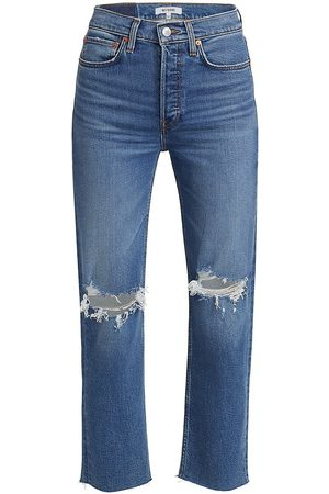 RE/DONE Women's Stove Pipe High-Rise Jeans - Dusk Destroy - Size 32