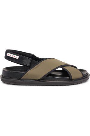 Marni Men's Fussbett Leather Slingback Sandals - Pastel Olive - Size 7