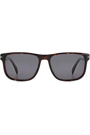 David beckham Men's 57MM Polarized Rectangle Sunglasses - Dark Havana