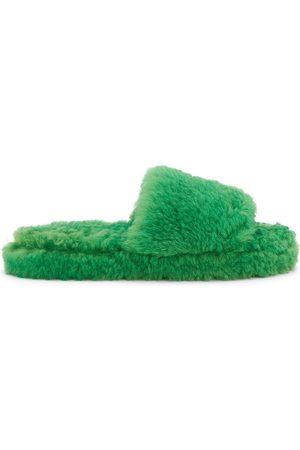 Bottega Veneta Men's Resort Shearling Slide Sandals - Grass - Size 13