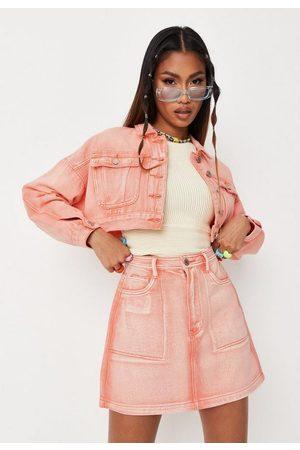 Missguided Peach Co Ord Bleached Seam Denim Mini Skirt