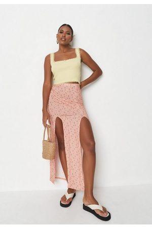 Missguided Women Maxi Skirts - Peach Floral High Split Maxi Skirt