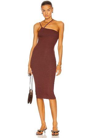 ENZA COSTA For FWRD Silk Rib Strappy Asymmetrical Midi Dress in Brown