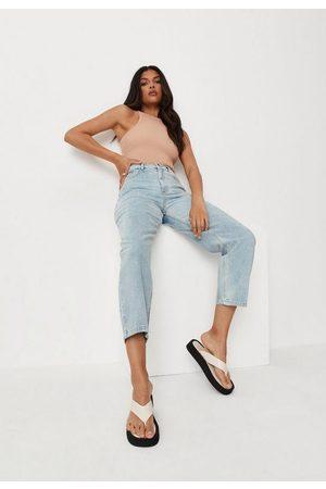 Missguided Women Straight - Petite Raw Hem Straight Leg Jeans