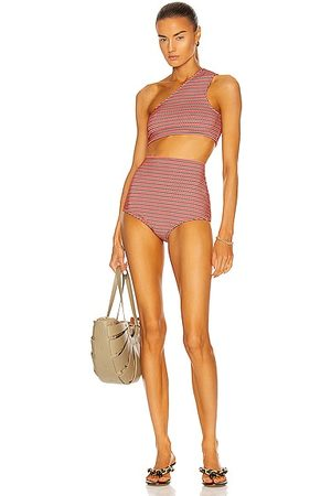 Bottega Veneta One Shoulder Bikini Set in Red