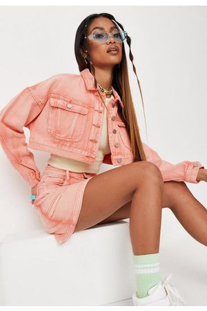 Missguided Peach Co Ord Bleached Seam Cropped Denim Jacket