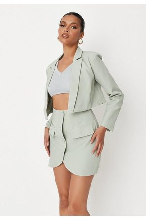 Missguided Sage Co Ord Button Front Tailored Mini Skirt