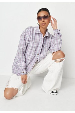 Missguided Women Shirts - Lilac Plaid Extreme Oversized Shirt