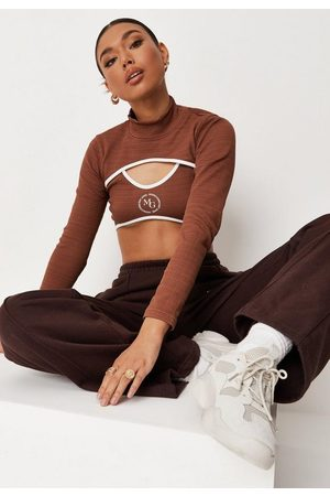 Missguided Tall Chocolate Msgd Rib Bralette And Arm Warmer Set