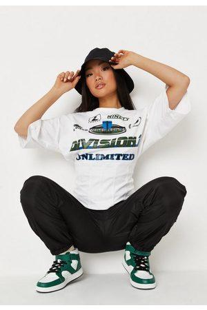 Missguided Petite White Varsity Corset T Shirt