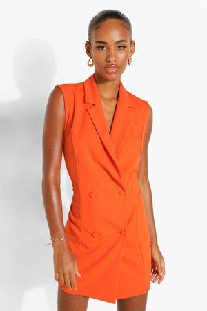 Boohoo Women Sleeveless Dresses - Womens Sleeveless Double Breasted Blazer Dress - - 4