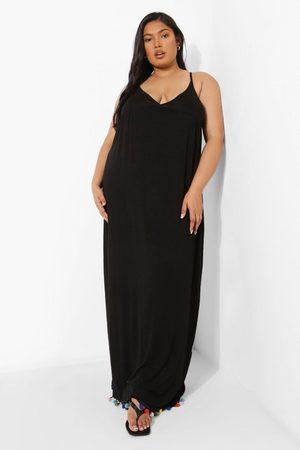 Boohoo Womens Plus Pom Pom Tie Maxi Dress - - 12