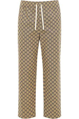 Gucci Interlocking Gg Canvas Pants W/ Leather