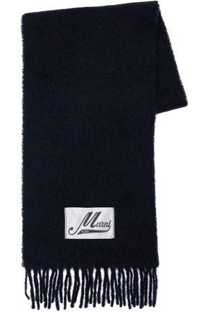 Marni Alpaca Blend Fringed Scarf W/logo Patch