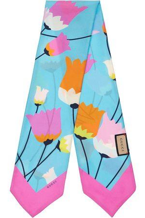 Gucci Tulip Print Silk Neck Bow Scarf