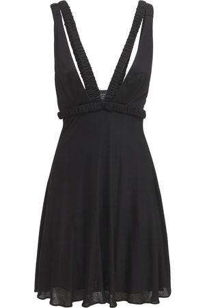 GIOVANNI BEDIN Deep V Viscose Jersey Mini Dress