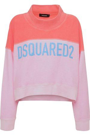 Dsquared2 Logo Two Tone Cotton Jersey Sweatshirt