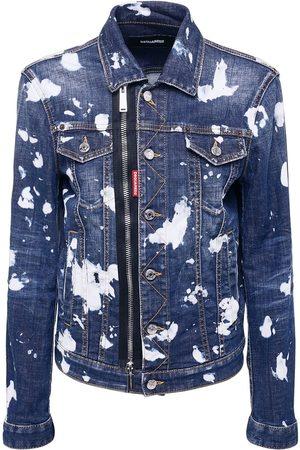 Dsquared2 Men Denim Jackets - Wash Pattern Stretch Cotton Jacket