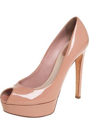 Dior Patent Leather Miss Peep Toe Platform Pumps Size 38.5