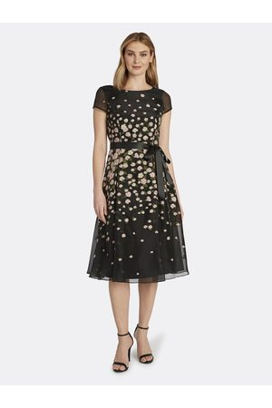 Tahari ASL Women Party Dresses - Cap Sleeve Embroidered Party Dress Mauve Olive Floral Size: 10