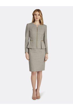 Tahari ASL Women Pleated Skirts - Pleated Collarless Peplum Skirt Suit Ivory Size: 10