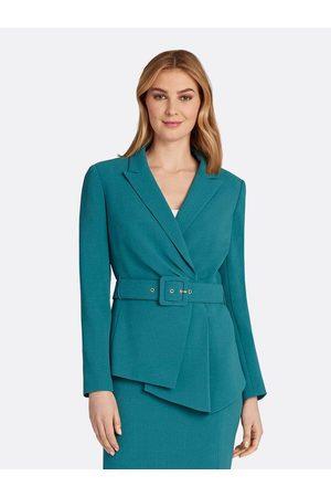 Tahari ASL Women Jackets - Asymmetrical Pebble Crepe Belted Jacket Peacock Size: 10