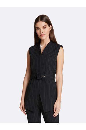 Tahari ASL Women Gilets - Pinstripe Belted Vest Ivory Pinstripe Size: 10