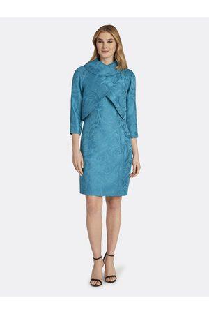 Tahari ASL Women Printed Dresses - Jacquard Wrap Jacket Dress Skirt Suit Peacock Floral Size: 10