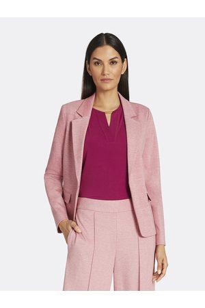 Tahari ASL Women Blazers - Ponte Unlined Flap Pocket Jacket Pomegranate Heather Size: 10