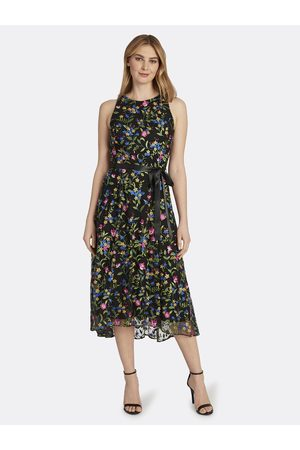 Tahari ASL Women Party Dresses - High-Low Embroidered Party Dress Viola Jade Floral Size: 10