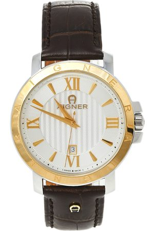 Aigner Two-Tone Stainless Steel Leather Triento A09000 Men's Wristwatch 42 mm