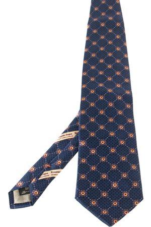 Ermenegildo Zegna Disegno Esclusivo Navy Floral Patterned Silk Traditional Tie