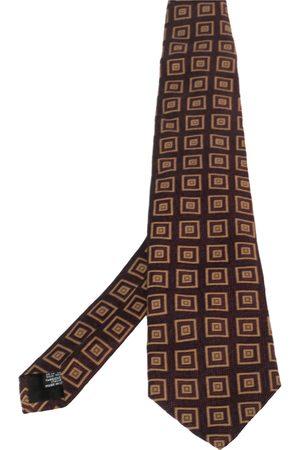 HUGO BOSS Burgundy Square Patterned Silk Jacquard Traditional Tie