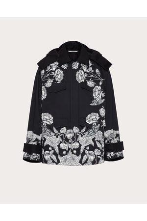 VALENTINO Men Coats - Technical Cotton Pea Coat With Dark Blooming Print Man / Cotton 49% 48