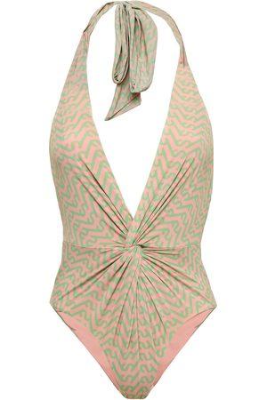 SELF-PORTRAIT Women Swimsuits - Woman Twist-front Printed Halterneck Swimsuit Antique Rose Size 10