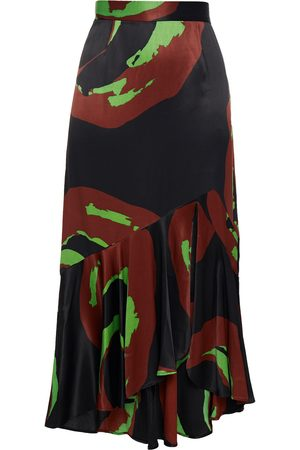 Rodebjer Women Printed Skirts - Woman Vianca Fluted Printed Satin Midi Skirt Size L