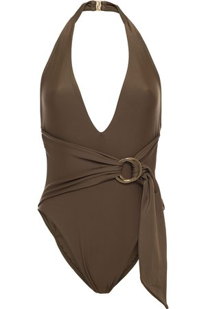 JONATHAN SIMKHAI Women Swimsuits - Woman Belted Halterneck Swimsuit Army Size L