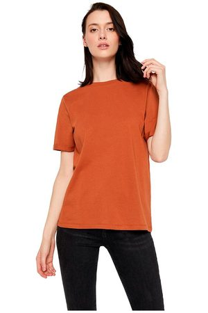Pieces Women Short Sleeve - Ria Short Sleeve Fold Up Solid T-shirt M Mocha Bisque