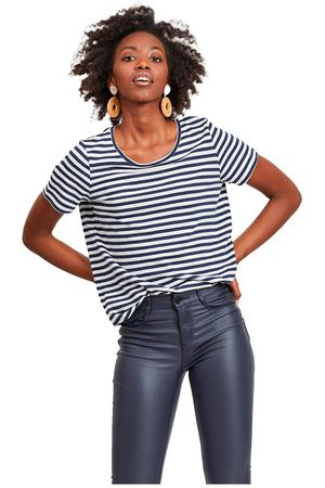 VILA Sus O-neck Short Sleeve T-shirt L Navy Blazer / Stripes Optical Snow