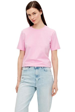 Pieces Ria Fold Up Solid Short Sleeve T-shirt M Pastel Lavender