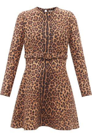 VALENTINO Women Printed Dresses - Crepe Couture Animalier-print Wool-blend Minidress - Womens