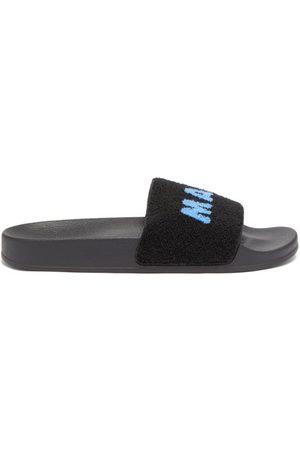 Marni Logo-jacquard Faux-shearling Slides - Mens